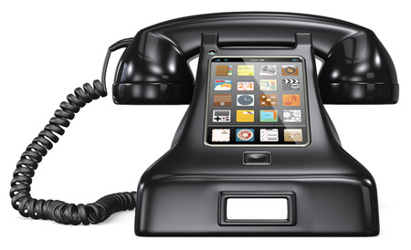 Black retro telephone with smartphone touch screen and apps.  photo