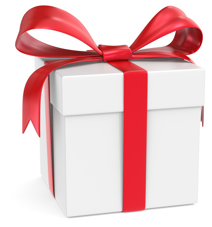 Gift Box  Classic Gift Box  White with red ribbons  photo