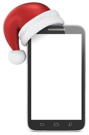 Merry Christmas  Blank smartphone with Santa Claus hat  Copy Space  photo
