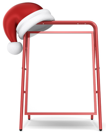 Red Sandwich Board and santa claus hat  Blank for Copy Space  photo
