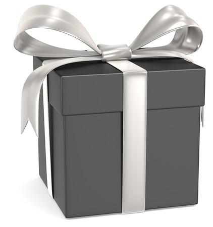 Gift Box Matte Black Gift Box Silber Bänder Standard-Bild