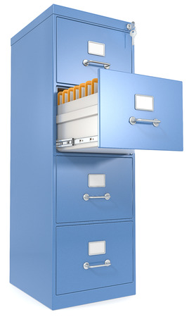 Blue File Cabinet  Open drawer with files  Lock and key