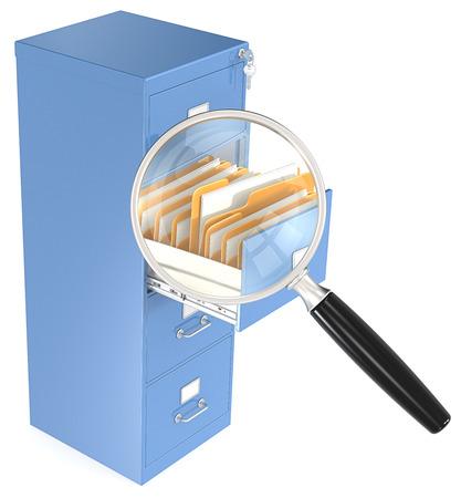 file cabinet: Lupa sobre el caj�n abierto de archivador Foto de archivo