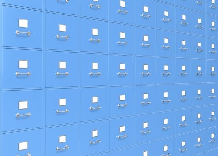 Blue wall of File Cabinets Stock Photo - 24477802