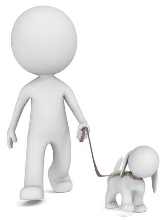 human character: The Dude prendere il cane per una passeggiata vista frontale