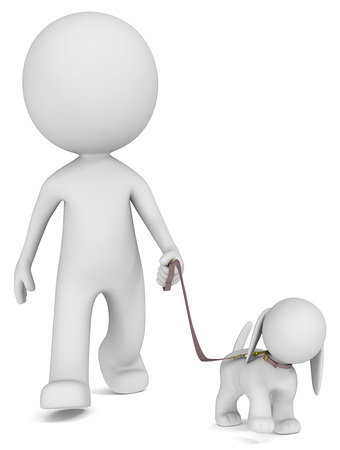personnes qui marchent: The Dude prendre le chien pour une promenade vue de face