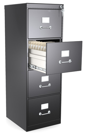 Black File Cabinet  Black File Cabinet  Open drawer with files  Lock and key  photo