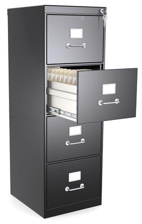 file cabinet: Negro File Cabinet Negro archivador caj�n abierto con los archivos de bloqueo y la clave