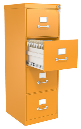 key cabinet: Orange File Cabinet  Open drawer with files  Lock and key