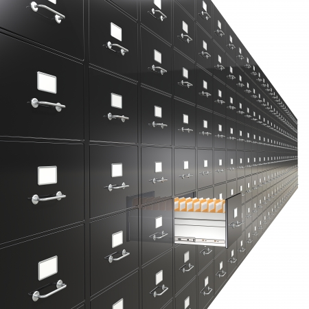 File Cabinets  Massive wall of File Cabinets  Open drawer  Black  Stock Photo - 24477807