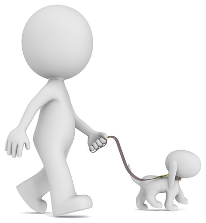 dog leashes: The Dude taking the dog for a walk  Side view  Stock Photo