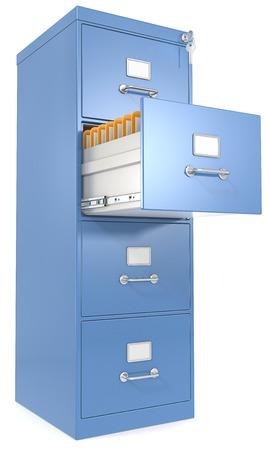 Blue File Cabinet  Open drawer with files  Lock and key  photo