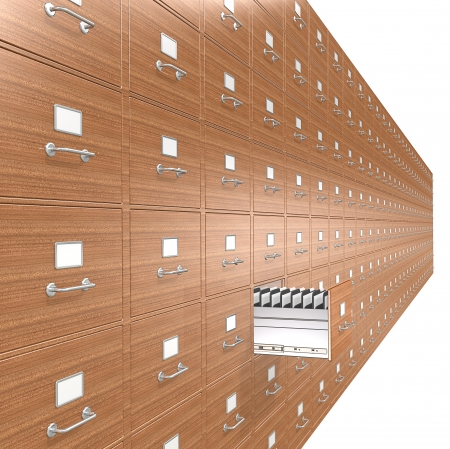 Wooden File Cabinets. Open drawer.  Stock Photo - 24477811