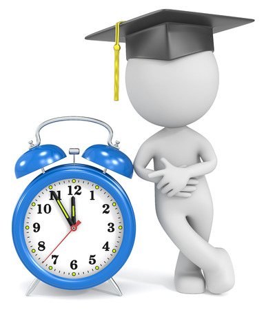 graduation countdown: Graduation time  Dude the Student pointing at blue alarm Clock at 5 to 12