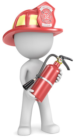 Firefighter  Dude the Firefighter holding fire extinguisher  Red helmet  photo
