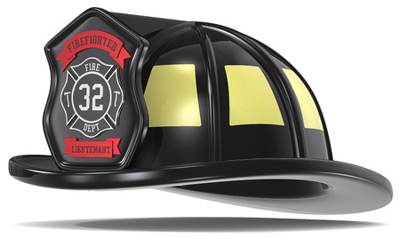 US Firefighter Helmet  Firefighter Helmet  Black with badge  Isolated  photo