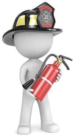 Dude the Firefighter holding fire extinguisher  US black helmet  Stock Photo
