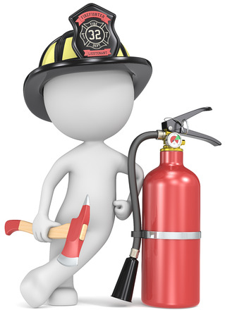 Fire and rescue  Dude the Firefighter holding an axe and fire extinguisher  US Black helmet  photo