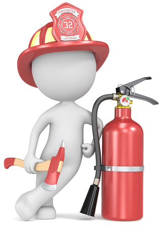 extinguisher: Fire and rescue  Dude the Firefighter holding an axe and fire extinguisher  Red helmet