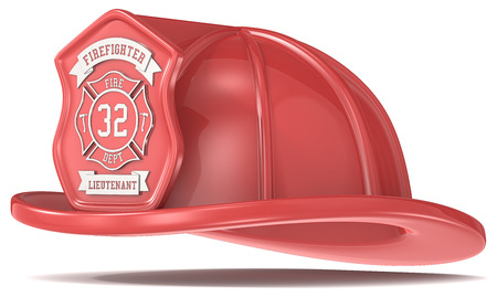 Firefighter Helmet. Classic Red with badge. Isolated. photo
