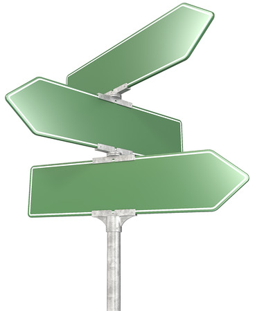 3 way green road sign post  Isolated