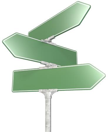 3-Wege-grünen Schild Post isoliert