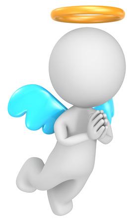 human character: La scelta Amico il piccolo personaggio umano Angelo 3D isolato