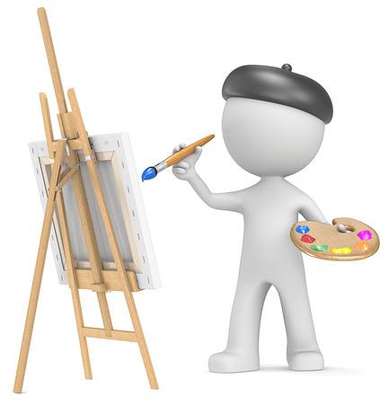 Dude het schilderij kunstenaar houden borstel en palet 3D weinig menselijk karakter Stockfoto