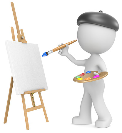 Der Künstler Geck die Künstler Malerei holding Pinsel und Palette 3D kleinen menschlichen Charakter Seitenansicht