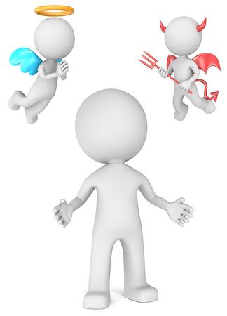 teufel engel: Gute oder schlechte Entscheidungen The Dude mit Engel und Teufel 3D kleinen menschlichen Charakter Lizenzfreie Bilder