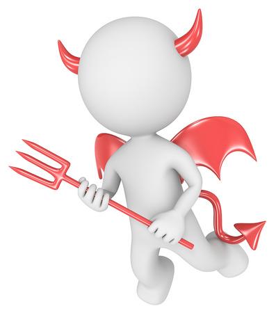human character: Il diavolo tizio piccolo carattere umano Devil 3D isolato