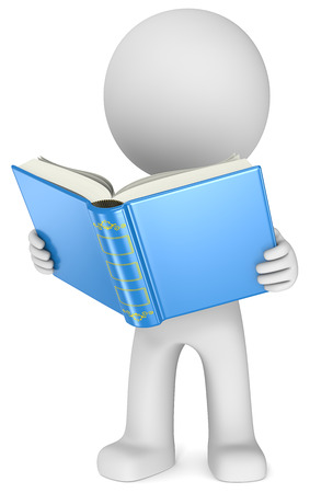 Study  The Dude standing reading a blue book  3D little human character  photo