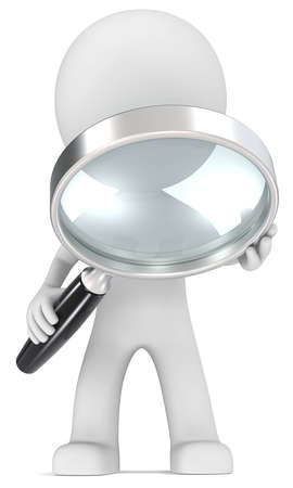 Seek  Dude with magnifying glass   Stock Photo