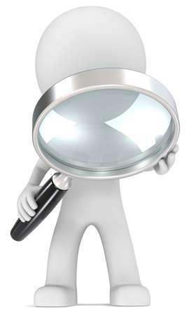 Suchen Geck mit Lupe