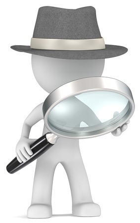 Case  Dude the detective with magnifying glass  Film Noir style  Stock Photo