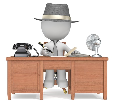 noir: Working  The dude Noir at the desk working  Film noir style
