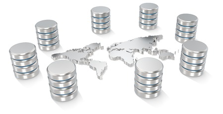 Global Servers  Abstract World map of metal surrounded by Servers  photo