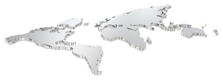 Steel world map  Angel view of world map  Metal  photo