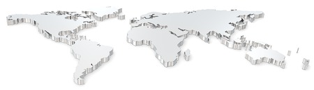 aluminum: World map  Front view of steel world map  Wide image