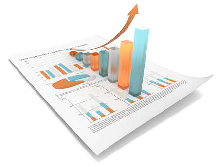 Growth  Multi Color edition  Abstract financial document with 3d graph of frosted glass