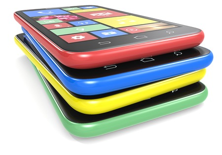 branded: Smartphones  Pile of Smart phones with colorful Flat UI  No Branded    Stock Photo