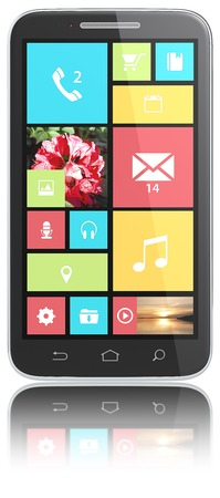 Smarphone with UI  Smart phone with colorful Flat UI  No Branded  Isolated   photo