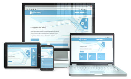 business technology: Responsive concetto di Web Design RWD con lo smartphone, laptop, schermo e computer tablet di marca No