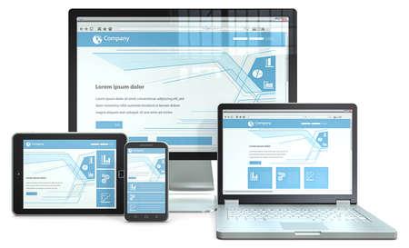 Responsive Web Design Concept RWD avec le smartphone, ordinateur portable, écran et ordinateur tablette Aucune marque Banque d'images - 29469016