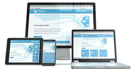 design web: Responsive Web Design  Smartphone,laptop,screen and tablet computer RWD, No branded  Perspective view  Stock Photo