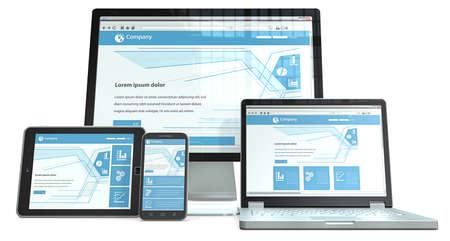 plantilla de sitio web: Responsive Web Design Smartphone, ordenador port�til, pantalla y tablet PC RWD, Sin marca Vista en perspectiva Foto de archivo