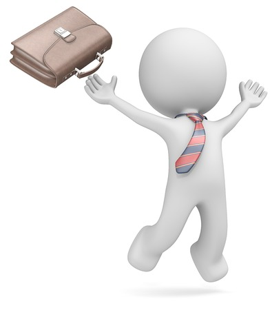 Dude the business man jumping of joy  Leather Briefcase and striped tie  Isolated  photo