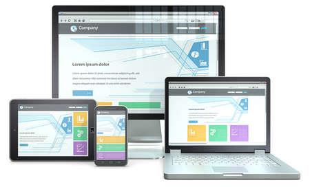 website: Responsive Web Design RWD-Konzept mit Smartphone, Laptop, Bildschirm und Tablet-Computer keine Marken