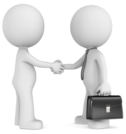 Business deal  The Dude shaking hand with character wearing tie and briefcase  Side view
