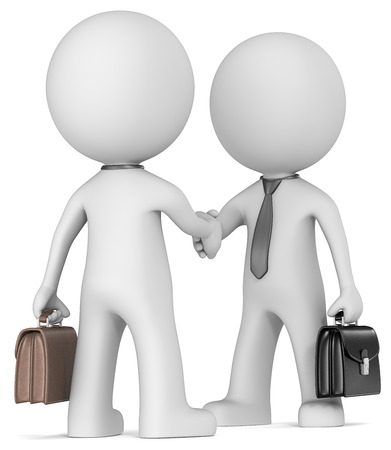 Business handshake  The Dude X 2 shaking hand wearing tie and briefcase  Rear view